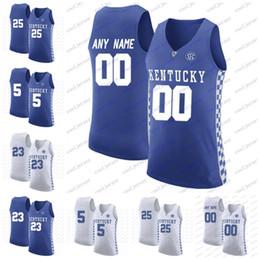 2db2fc96c Personnalisé NCAA Kentucky Wildcats College Basketball n importe quel  numéro de nom personnalisé cousu   5 Kevin Knox 25 PJ Washington chandails bleu  blanc