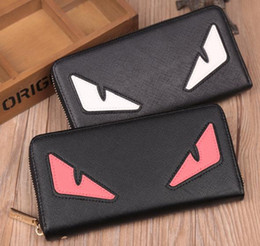 Wholesale cute little red wallet - HOT Little monster accordion wallet stingray leather AAA cute monster purse 4 Colors Free Shipping