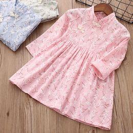 Wholesale Blossom Blends - Girls Plum Blossom Print Dresses Chinese Vintage Style Kids Spring 18 Boutique Clothing Little Girls Long Sleeves Dresses