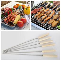 Wholesale needle skewer - Stainless Steel Barbecue Skewers Wood Handle Metal Roasting Needle Camping Outdoor BBQ Tools Forks AAA388