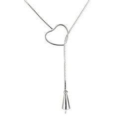 925 Silber herzförmige Schiebeschnalle Perlenkette finden, Sterling Silber Perlen Anhänger Halskette Zubehör Box Kette Perle passend von Fabrikanten