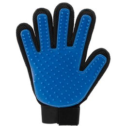Wholesale Wholesale Rakes - 500pcs cheap Pet Dog Cat Bath Grooming Glove Brush Dogs Cleaning Massage Comb Hair And Fur Remover Glove Five Fingers Blue H409