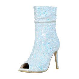 Kolnoo новые лучшие продажи женщин Дамы ручной работы сапоги на высоком каблуке блеск Blingbling Peep-toe партии выпускного вечера середины пятки пинетки мода обувь A041 от