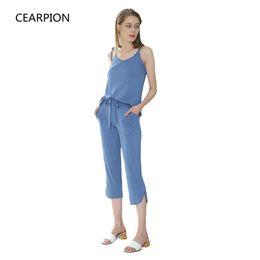 Pijamas azules online-CEARPION Summer Women Suspender Pyjamas Set Blue Modal Sleep Suit Pantalones Sexy hasta la pantorrilla High Quality Nightwear Negligee XS-XXL