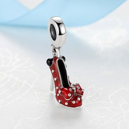 Wholesale jewelry heels - 2018 New Spring Authentic S925 Sterling Silver Red High Heels Shoes Enamel Hanging Charm Bead Fit Pandora Bracelets DIY Jewelry Making