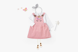 Wholesale Suspender Skirts Sets - 2018 New Baby Girls unicorn outfits Toddlers Kids Pony printed long sleeve T-shirt+pompon unicorn pink suspender skirts 2pcs sets A00169