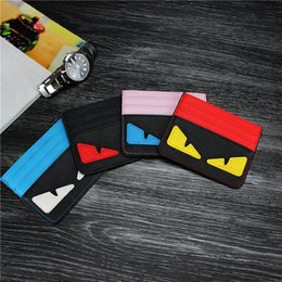 Wholesale wholesale acrylic business card holders - Cartoon Ultra-thin ID Card Holder Fashion Men Women Credit Card Holder Little monsters Slim Bank ID Card Case Pocket Bag Real Leather Wallet