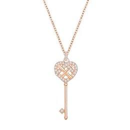 2019 ciondoli a forma di cuore Collana con ciondolo chiave a forma di cuore in oro rosa originale donna Elegante catena a clavicola retrò di lusso Fabbrica diretta sconti ciondoli a forma di cuore