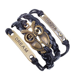 """Wholesale anchor eyes - 2017 """"LOVE DREAM""""Multilayer Braided Bracelets for Women Wise Owl Magic Eye Dragon Wings Anchor Infinity Leather Bracelet Bangle"""