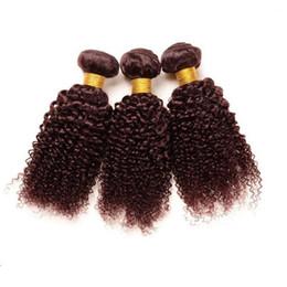 Canada 99j cheveux humains tissages bourgogne péruvienne vierges extension de cheveux crépus bouclés vin rouge offres packs 3pcs / lot Offre