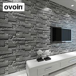 pintura a óleo fundo preto Desconto Tijolo empilhado moderno 3d papel de parede de pedra rolo de fundo da parede de tijolo cinza para sala de estar papel de parede de vinil pvc olhar estereoscópico