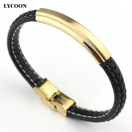 Wholesale Brazaletes de cuero de nudo ajustable de titanio acero pulido inoxidable pulseras de cuero genuino Diseño clásico de lujo para reloj pulsera brazalete
