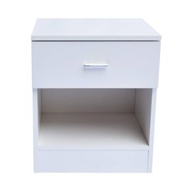 Wholesale Cabinet Solid Wood - 1 Drawer Metal Handle Bedside Cabinet Night Table White