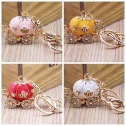 Wholesale rhinestone carriage - Pumpkin Carriage Design Kawaii Keychain Candy Color Rhinestone Decor Key Buckle For Car Bag Hanging Keys Ring Charms 6mt Z