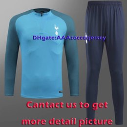 Wholesale Sweater Zip - Top quality 2018 World Cup Tottenham Blue half sweater sweater training suit V-Neck Soccer Training Set Tottenham tracksuit sets jacket