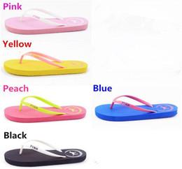 Wholesale Girls Flip Flops - Summer Sandals Girls Love Pink Flip Flops Pink Letter Beach Slippers Shoes Women Soft Sandalias VS Casual Rubber Sandals