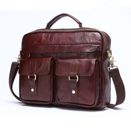 Crazy Horse Genuine Leather Men Briefcase with Handles Shoulder Laptop Bag  14 Leather Briefcase Handbags Totes Bags Men b8bd85dc493d9