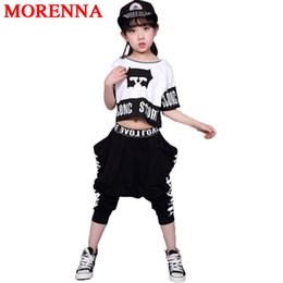 Wholesale Jazz Costumes For Girls - MORENNA Children's Streetwear Fashion Set Suits Kids Clothing Hip Hop Dance Sets For Girls And Boys Jazz Clothing Costumes Sets Kid Suit