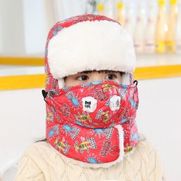 Wholesale Wholesale Kids Aviator Hats - Children Super Thick warm Ski Hat Cap With Mask Leifeng Trooper Trapper Snowboard Boy Girl Winter Aviator Bomber Earflap Kids