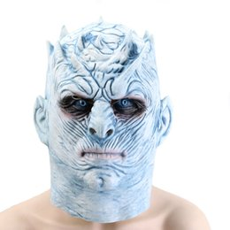 Máscaras zombie completas online-Hanzi_masks Latex El juego de tronos Night King Masks Halloween Cosplay Party Mask Adult Full Face Zombie Ball Costume Mask Props