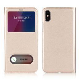 Wholesale Iphone 5s Flip Window - For Iphone 5 5s SE 6 6s 7 8 X Flip open Double View Window Case PU Slim leather Cover Fundas