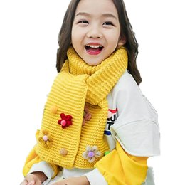 Wholesale Cable Knit Scarfs - Children Unisex Cable Knitted Scarf Flower Design Kids Autumn Winter Warm Solid Color Scarves For Boys Girls WJ8526