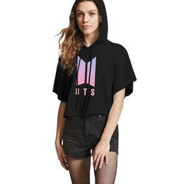 Женская футболка онлайн-BTS 2018 New Kpop BTS Summer Crop Top T-shirt Women/Men Fashion Hot Sale BTS Short Sleeve Hooded Tshirt Female Coon Clothes