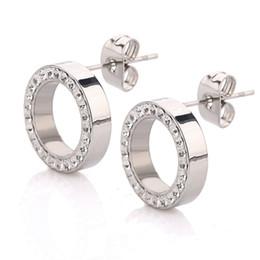 Wholesale Earing Steel - Splendid Fashion Stainless Steel Earing Jewelry Bohemian Resin Crystal Round Circle Cute Ear Studs Earrings For Women