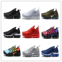 Wholesale Metallic Packing - (With Box) 2018 New Vapormax TN Plus SHERBET Running Women Mens Shoes Sports Pack Triple Black TRIPLE WHITE Olive In Metallic Shoes