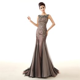 Wholesale Round Pearl Buttons - Evening Dresses Gorgeous Formal Round Neck Lace Long Sexy Gray Women Party 2018 Special Occasion LFDZC0021