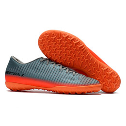 Wholesale Victory Boots - Grey Orange CR7 Turf Football Boots 100% Original Kids Soccer Shoes Mercurical Victory VI TF SX Neymar FG Womens Soccer Cleats