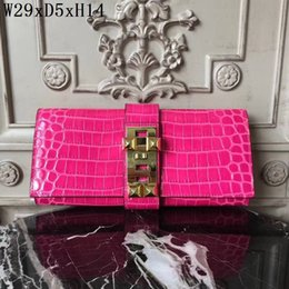 Wholesale Embossed Handbags - original 2018 brand high quality women handbags Genuine Leather Lady Evening Bags Crocodile grain Casual Clutch purse