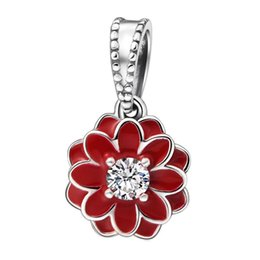 flores de dalia roja Rebajas Blooming Dahlia Charm Colgantes Auténticos 925 Plata de ley Esmalte Rojo Flor Encantos Granos Para La Joyería Que Hace DIY Marca Pulseras HB620