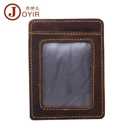 Wholesale Top Cowhide Leather Wallet - Genuine Real Leather Crazy Horse Vintage Plastic Credit Card Case Top Qaulity Cowhide Casual Men Wallet Holder New Brief Style