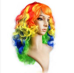 Canada Femmes Anime Cosplay long Perruques Multicolore Pas Cher Synthétique Cheveux Perruque Cosplay Costume Coloré Mesdames robe Vague Profonde Perruques Pour Party club nuit Offre