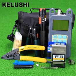 Wholesale Fault Locator - KELUSHI Fiber Optic Ftth Tools Kit Optical Fiber Cleaver Visual Fault Locator 10mw VFL Optical Power Meter fibre stripper