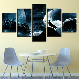 Wholesale Moon Cartoon Pictures - Home Decor Canvas Prints Pictures Framework Wall Art 5 Piece Full Moon Night Wolf Roar Paintings Forest Animal Starry Sky Poster