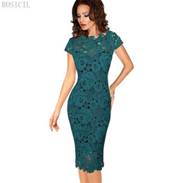 Wholesale Mother Bride Casual - 2018 Summer Women Elegant Vintage Dress Office Work Applique Lace Evening Party Cap Sleeve Mother Of Bride Black Green MF5641