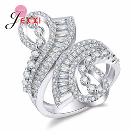 Wholesale Pure Stones - whole saleJEXXI Hot Sales!! Classic Real Pure 925 Sterling Silver Jewelry Crystal Cubic Zirconia CZ Stone Women Finger Rings Nice Gift
