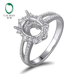 Configuración de montaje de diamante semi online-Caimao 6x8mm Anillo de ajuste de montaje semi-tallado de 18 quilates de oro blanco Natural 0.48ct Joyería de compromiso de diamantes S923