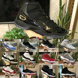 Wholesale plastic gym - 11 Prom Night Men Retro Brand Basketball Shoes blackout Easter Gym Red Midnight Navy PRM Heiress Barons Closing Concord Bred University Air