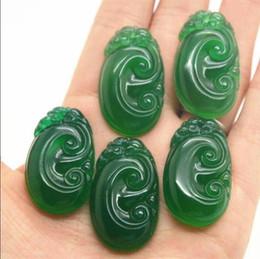 jade ruyi Rabatt Natürliche Achat, Chalcedon grün, Langlebigkeit, Ruyi Anhänger, Freundin, Liebhaber, grün und weiß.
