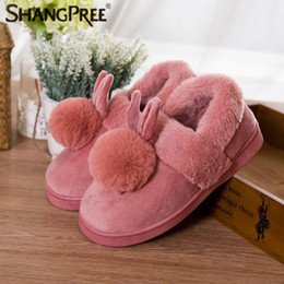 Wholesale rabbit slippers - Hot Woman New style Lovely Rabbit ears Soft Home Slippers Cotton Warm Winter Women slippers Casual indoor in 4 colors