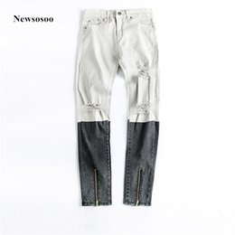 Wholesale Spliced Jeans - Newsosoo 2018 Fashion Brand Mens Printed Color Splice Slim Stretch Biker Knee Big Holes Skinny High quality Ripped mens Jeans