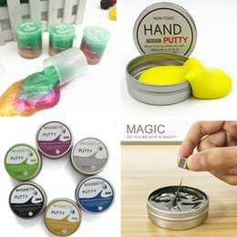 Wholesale Magnetic Oil - Latex Oil rainbow Colored Barrel Slime hand putty Magnetic luminous mud clay slime Toy Crazy Trick Party Supply Trick Funny Toy drums