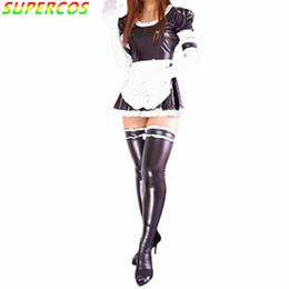 Argentina Fiesta de carnaval de Halloween de alta calidad Negro brillante metálico sexy mucama francesa Zentai Suit supplier zentai shiny sexy Suministro