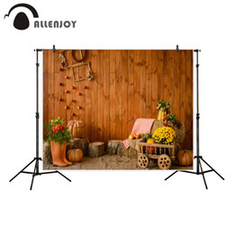 photographie automne fond Promotion Toile de fond Allenjoy pour la photographie studio citrouille bois maison campagne automne fond photo shoot nouveau photocall