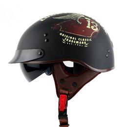 Wholesale Vintage Scooter Helmet Xl - T55 motorcycle helmet vintage Harley helmet retro scooter half helmet with inner visor lens casco moto DOT capacete