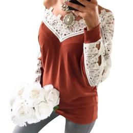 Femmes Dentelle Patchwork T-shirt Sexy Col En V Profond À Manches Longues Tops Lâche T-shirt Casual Printemps Automne Dames Solide Slim T-shirt Blusa ? partir de fabricateur