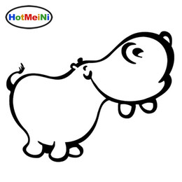 Wholesale happy stickers - Wholesale Decals Car Stickers Glass Scratches Wall Bumper Truck Jdm Happy Hippo Cute Wild Animals
